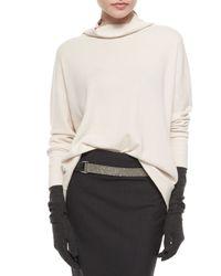Brunello Cucinelli - White Cashmere Monili Turtleneck Sweater - Lyst