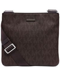 Michael Kors | Brown Jet Set Shadow Small Flat Crossbody Bag for Men | Lyst