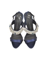 Giuseppe Zanotti | Blue Navy Satin & Crystal High Heel Sandal | Lyst
