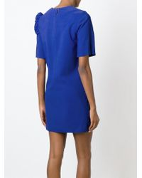 MSGM - Blue Embroidered Short Dress - Lyst