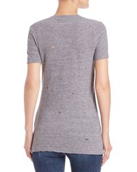 Monrow - Gray Distressed Tee - Lyst