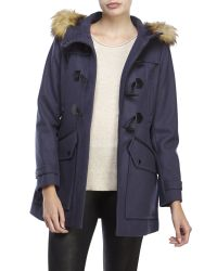 Marc New York | Blue Cara Faux Fur Trim Toggle Coat | Lyst
