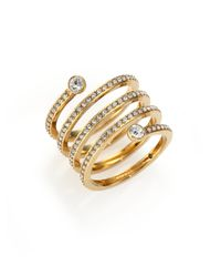 Michael Kors | Metallic Park Avenue Glam Pave Spiral Ring/goldtone | Lyst