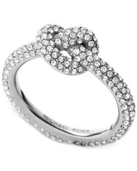 Michael Kors | Metallic Clear Pavé Crystal Knot Ring | Lyst