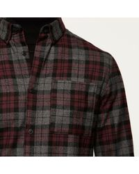 River Island - Red Check Flannel Shirt for Men - Lyst