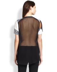 3.1 Phillip Lim - Purple Printed Silk Sheer-Back Tee - Lyst