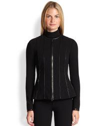 Ralph Lauren Black Label - Black Scarlette Leather-Trimmed Jacket - Lyst