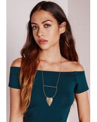 Missguided | Metallic Cut Out Tassel Necklace | Lyst