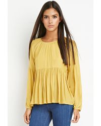 Forever 21 - Yellow Contemporary Tiered Peasant Blouse - Lyst