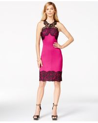 Guess | Pink Lace-trim Sheath Dress | Lyst