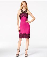 Guess   Pink Lace-trim Sheath Dress   Lyst