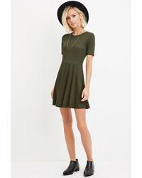 Forever 21 - Green Ribbed Knit Skater Dress - Lyst