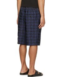 Public School - Navy Blue Houndstooth Double_layer Shorts for Men - Lyst