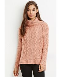 Forever 21 | Purple Cable Knit Turtleneck Sweater | Lyst
