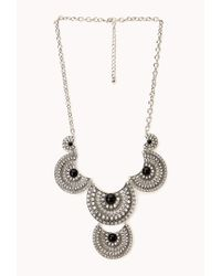 Forever 21 | Metallic Cutout Rhinestone Medallion Necklace | Lyst
