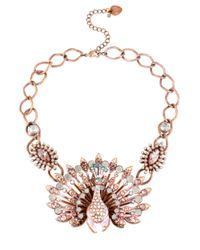 Betsey Johnson | Pink-Tone Patina Peacock Necklace | Lyst