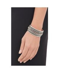 Saint Laurent - Metallic Silver Multi Twist Cuff - Lyst