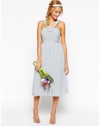 ASOS - Blue Wedding Midi Dress With Halter Neck Detail - Lyst