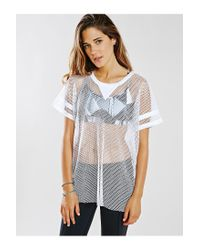 First Base - White Open Mesh Tee - Lyst