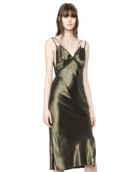 Alexander Wang | Green Satin Slip Dress | Lyst