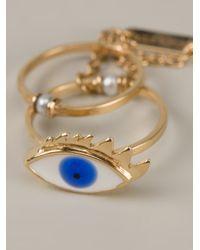 Delfina Delettrez - Blue Two in One Eye Double Ring - Lyst