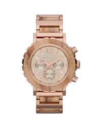 Michael Kors | Metallic Womens Chronograph Lille Sand Acetate and Rose Goldtone Stainless Steel Bracelet 45mm | Lyst