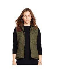 Polo Ralph Lauren | Brown Suede-trim Quilted Vest | Lyst