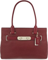 COACH | Red Swagger Leather Carryall Bag | Lyst