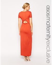 ASOS - Orange Maternity Maxi Dress With Wrap Back - Lyst