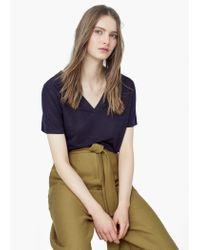 Mango - Blue Mixed Linen-blend T-shirt - Lyst