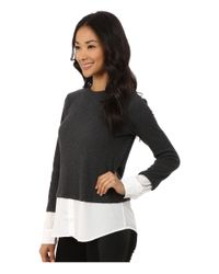 Calvin Klein - Gray Thermal Top W/ Shirting - Lyst