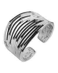 John Hardy | Metallic Bamboo Silver Lava Wide Flex Cuff Black Sapphire for Men | Lyst