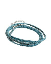 Sogoli - Blue Turquoise And Silver Braided Chain Wrap Bracelet - Lyst