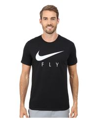 Nike | Black Swoosh Fly Tee for Men | Lyst