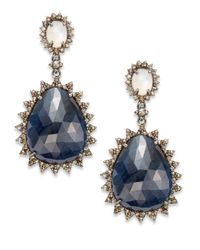 Bavna | Blue Sapphire Moonstone  Champagne Diamond Drop Earrings | Lyst