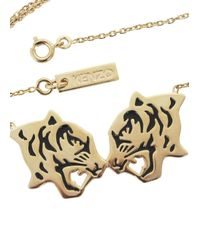 KENZO | Metallic Gold Plated Double Tiger Necklace | Lyst