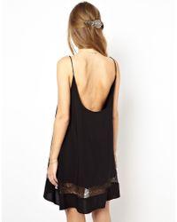 Jarlo | Black Alex Cami Slip Dress with Lace Inserts | Lyst