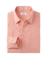Uniqlo - Orange Men Premium Linen Long Sleeve Shirt for Men - Lyst
