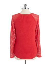 T Tahari | Red Rib-knit Sweater | Lyst