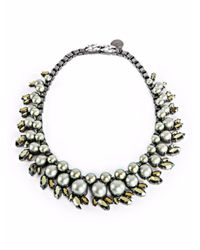 Ellen Conde | Green Pearl And Crystal Sr3 Choker Necklace | Lyst