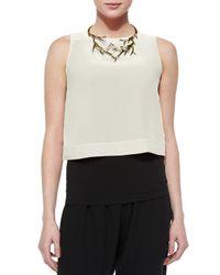 Eileen Fisher - Natural Button-back Silk Crop Shell - Lyst