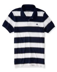 Aéropostale | Blue A87 Bar Stripe Logo Jersey Polo for Men | Lyst
