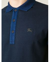 Burberry Brit - Blue Contrast-Sleeved Polo Shirt for Men - Lyst