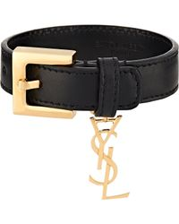 Saint Laurent | Black ysl Monogram Charm Bracelet | Lyst