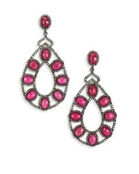 Bavna | Red Pavã© Diamond, Ruby & Sterling Silver Drop Earrings | Lyst