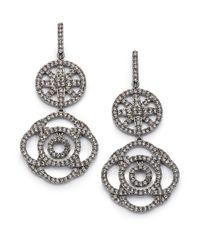 Adriana Orsini | Metallic Pavé Crystal Medallion Drop Earrings | Lyst
