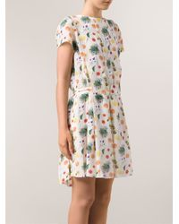 SUNO - White Box Pleat Dress - Lyst