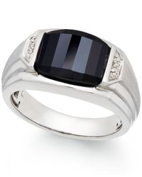 Macy's | Black Men's Onyx (4-1/2 Ct. T.w.) And Diamond Accent Ring In Sterling Silver | Lyst