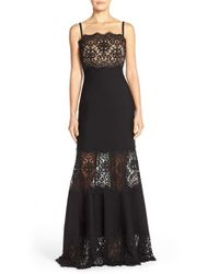 Tadashi Shoji | Black Strapless Lace Inset Pintuck Jersey Gown | Lyst