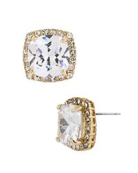 Betsey Johnson | Metallic Square Goldtone And Cubic Zirconia Stud Earrings | Lyst